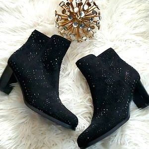Azura Black Crystal Stud Suede Ankle Boots
